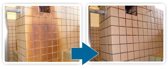 名古屋でお手頃な金額で石材洗浄を行うエコロビームとうかいの入浴施設洗浄写真